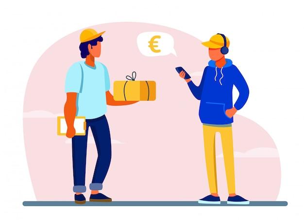 Jonge man met behulp van smartphone-app voor het betalen van leveringsbon