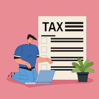 Jonge man met belasting en laptop karakter