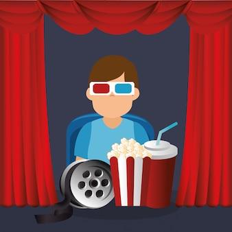 Jonge man met een bril 3d en bioscoop pictogrammen