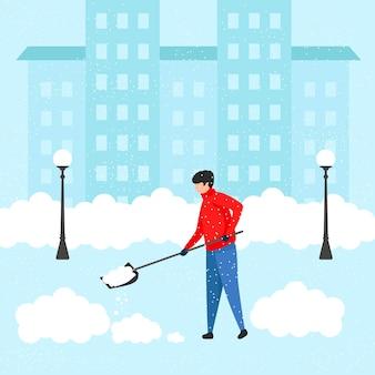 Jonge man met een schop reinigt het huis van sneeuw. sneeuwvrij maken van het gebied bij hevige sneeuwval. vlakke afbeelding. vector illustratie