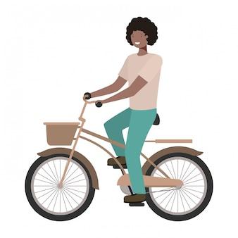 Jonge man met fiets avatar karakter