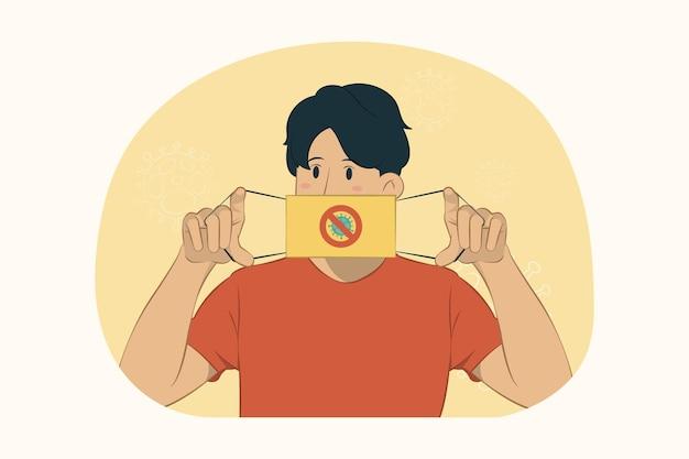 Jonge man met gezichtsmasker om coronavirus te beschermen, met betrekking tot mondconcept