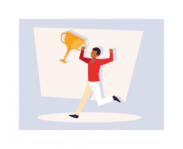 Jonge man met gouden trofee
