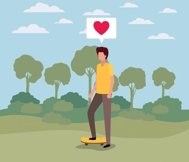 Jonge man met hart in tekstballon op het kamp