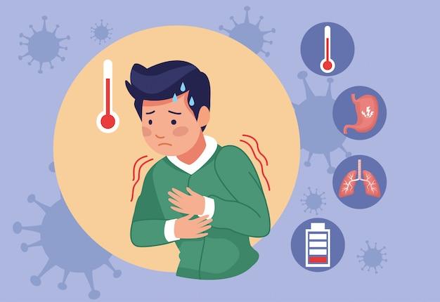 Jonge man met koorts covid19 symptomen en pictogrammen instellen