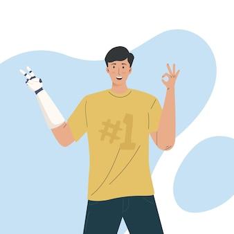Jonge man met kunstmatige ledematen presenteert een prothese