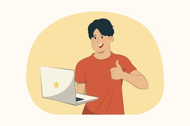 Jonge man met laptop pc-computer, duim opdagen concept