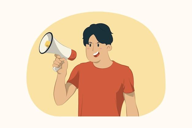 Jonge man met megafoon concept