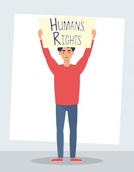 Jonge man met mensenrechten label karakter vector illustratie ontwerp