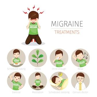 Jonge man met migraine behandeling pictogrammen instellen