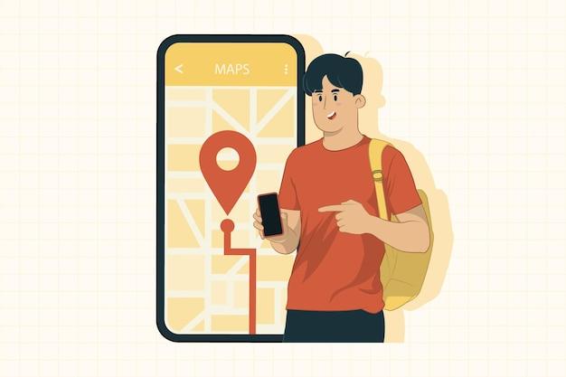 Jonge man met mobiele telefoon kijken naar navigatie