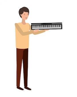 Jonge man met piano klavier karakter