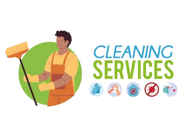 Jonge man met reinigings- en desinfectie-apparatuur illustratie desing