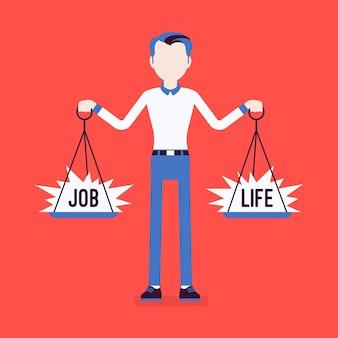 Jonge man met schalen om werk en leven in evenwicht te brengen. man in staat om harmonie te vinden, overeenstemming over werk, familieakkoord, gewichten in handen te houden, juiste levensstijl te kiezen. vectorillustratie, gezichtsloze karakters