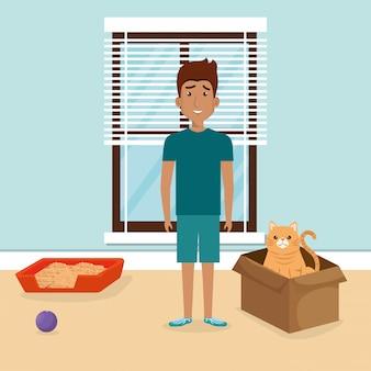 Jonge man met schattige mascotte in het huis