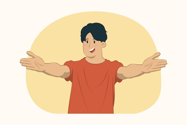 Jonge man met uitgestrekte handen concept