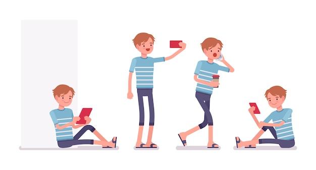 Jonge man met verschillende gadgets