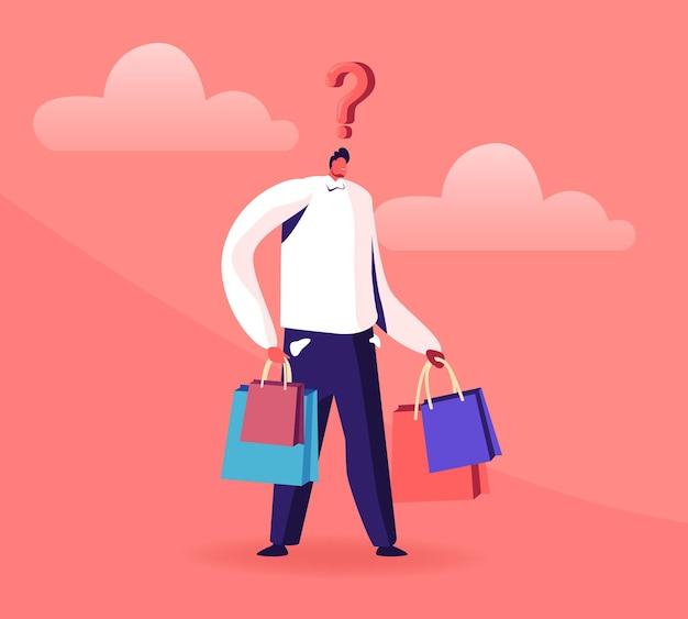 Jonge man met vraagteken boven het hoofd houden kleurrijke boodschappentassen. cartoon vlakke afbeelding
