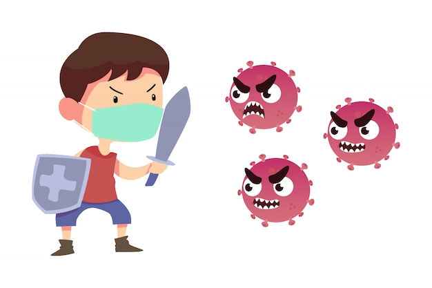 Jonge man met zwaard en schild vechten met coronavirus-infectie