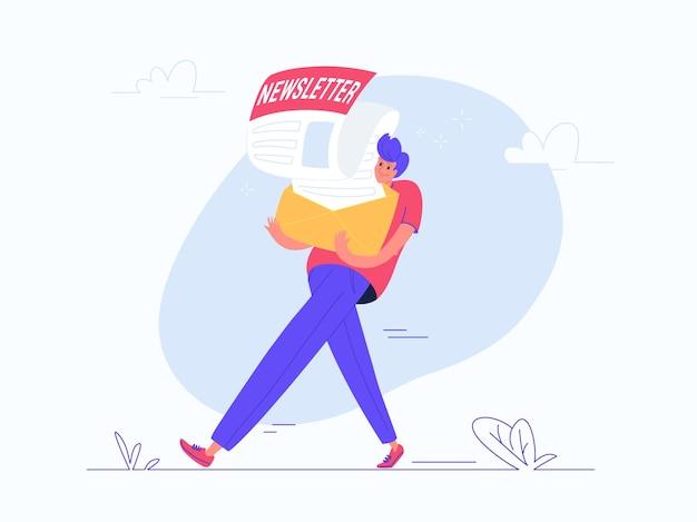 Jonge man met zware envelop met een nieuwsbrief. platte moderne concept vectorillustratie van mensen die zich abonneren op maandelijkse kennisgeving, nieuws en promo brieven. casual ontwerp op witte achtergrond