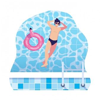 Jonge man met zwembroek drijvend in water