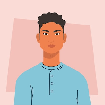 Jonge man mulat, avatar karakter. Premium Vector
