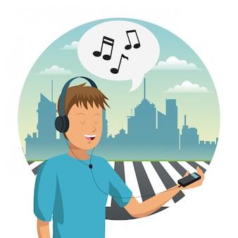 Jonge man muziek luisteren