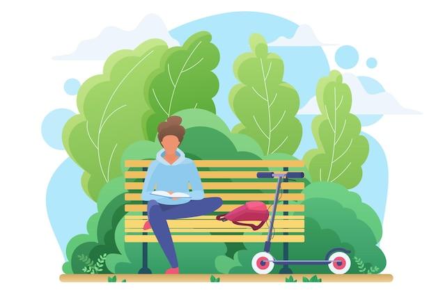 Jonge man of vrouw menselijke lezing in park