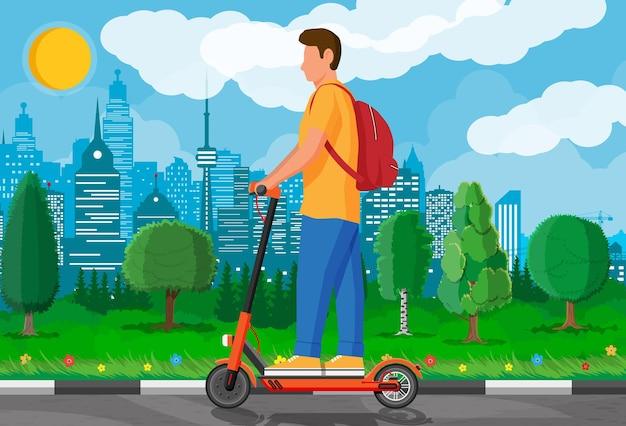 Jonge man op kick scooter. kerel met rugzak die op elektrische scooter rolt. hipster-personage maakt gebruik van modern stadsvervoer. ecologisch, handig stadsvervoer. cartoon platte vectorillustratie