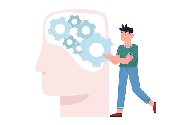 Jonge man opzetten van geestelijke gezondheid op hersenen