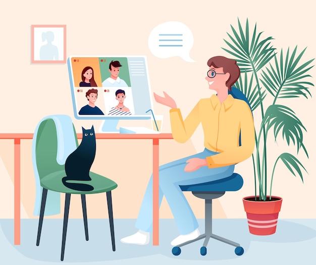 Jonge man praten met vrienden op videoconferentie, zittend in huis kamer interieur, mensen praten