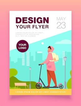 Jonge man rijden elektrische scooter flyer-sjabloon