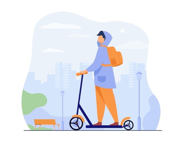 Jonge man rijden elektrische scooter geïsoleerde platte vectorillustratie. cartoon hipster rijden langs stoep in stadspark.