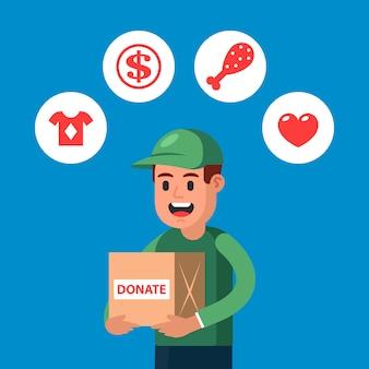 Jonge man schenkt dingen aan een goed doel. fondsen werven voor mensen in moeilijke tijden. flat karakter vector illustratie.