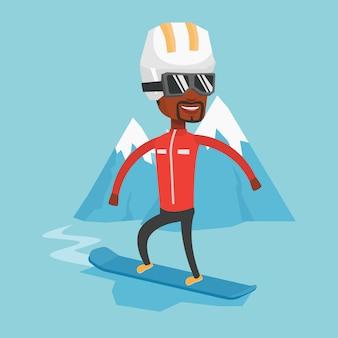 Jonge man snowboarden vectorillustratie.