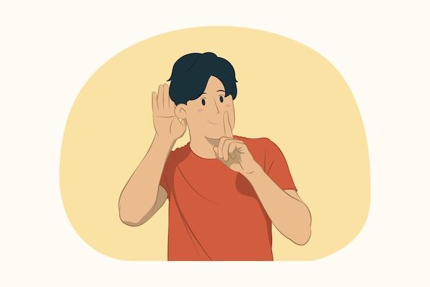 Jonge man staande zeggen stilte wees stil met vinger op lippen shhh gebaar concept