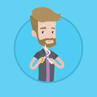 Jonge man stoppen met roken vectorillustratie.