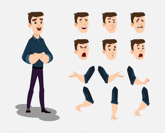 Jonge man stripfiguur ingesteld voor uw animatie, ontwerp of beweging met verschillende gezichtsemoties en handen.