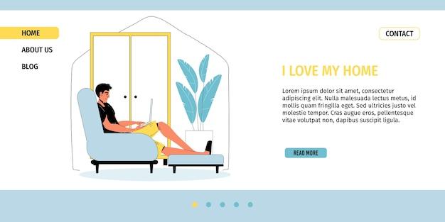 Jonge man studeren of online werken op laptop zittend in een gezellige woonkamer.