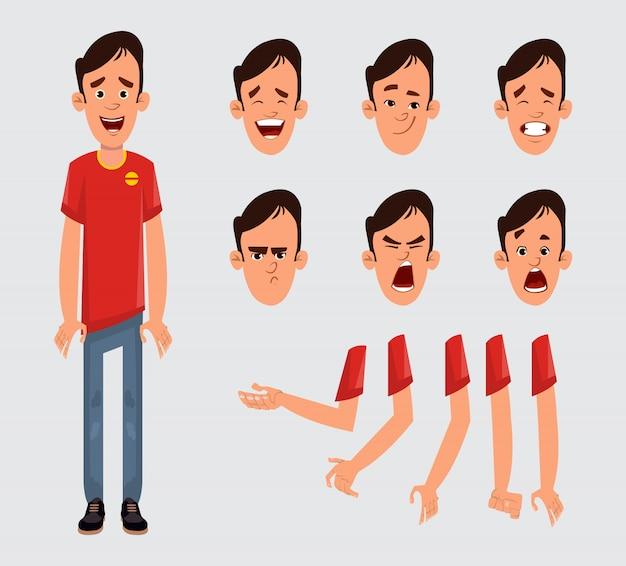 Jonge man tekenset voor uw animatie, ontwerp of beweging met verschillende gezichtsemoties en handen.