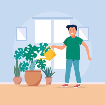 Jonge man thuis tuinieren