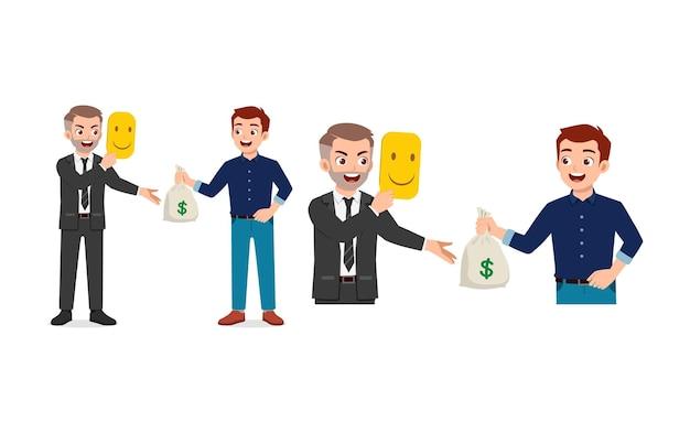 Jonge man vertrouwen en geld geven aan oplichter