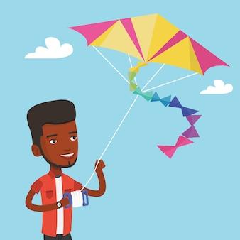 Jonge man vliegende vlieger illustratie.