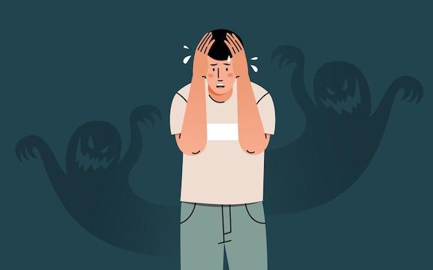 Jonge man voelt angst, angst en verwarring. concept van nachtmerrie, angst, paniekaanvallen, psychische problemen.