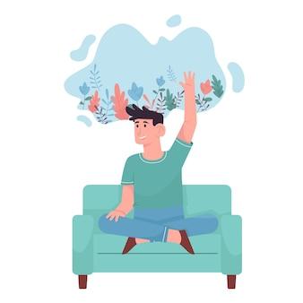 Jonge man voelt positieve sfeer voor geestelijke gezondheid