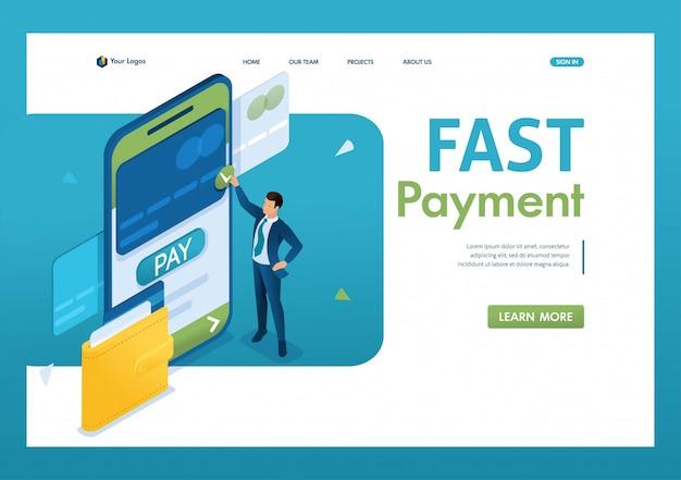 Jonge man voert een online betaling uit via een mobiele applicatie. snelle betaling. 3d isometrisch.