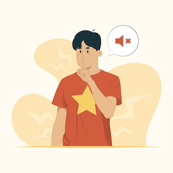 Jonge man vraagt stil te zijn met de vinger op de lippen stilte geheim concept