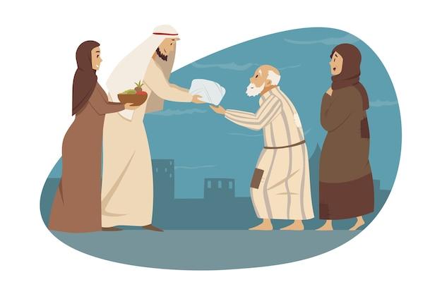 Jonge man vrouw broer zus moslims geven geschenken cadeautjes aan ouders arabische oma grootvader