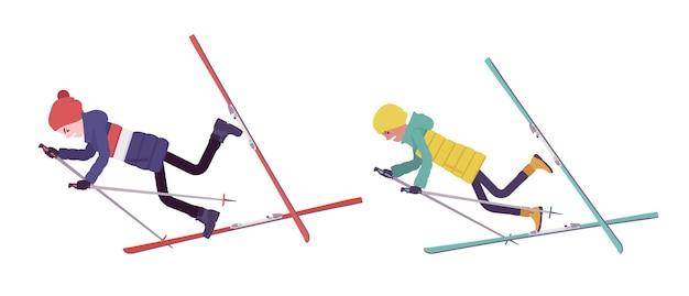 Jonge man, vrouw in donsjack, vallen in verkeerde skitechniek