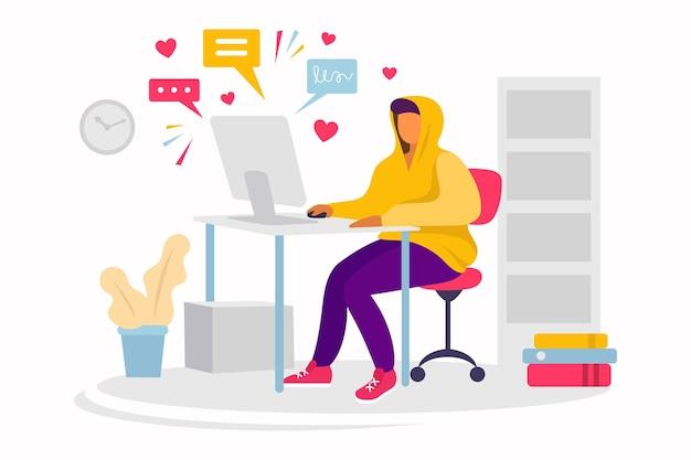 Jonge man werkt op afstand thuis. online carrière. freelancer, blogger. illustratie. internetcommunicatie, likes en posts.